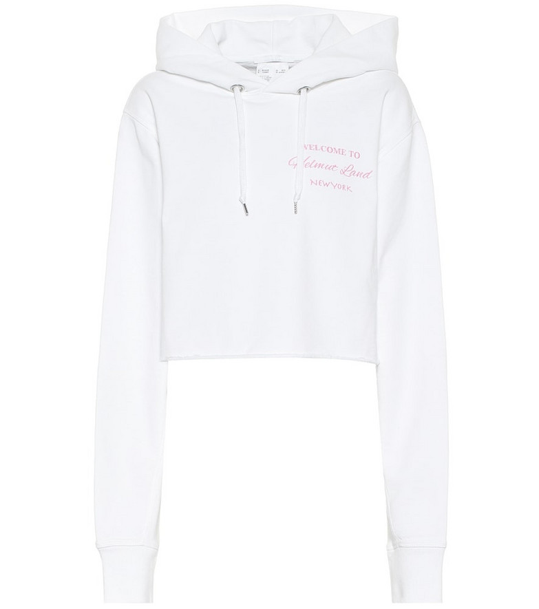 Helmut Lang Cropped cotton hoodie in white