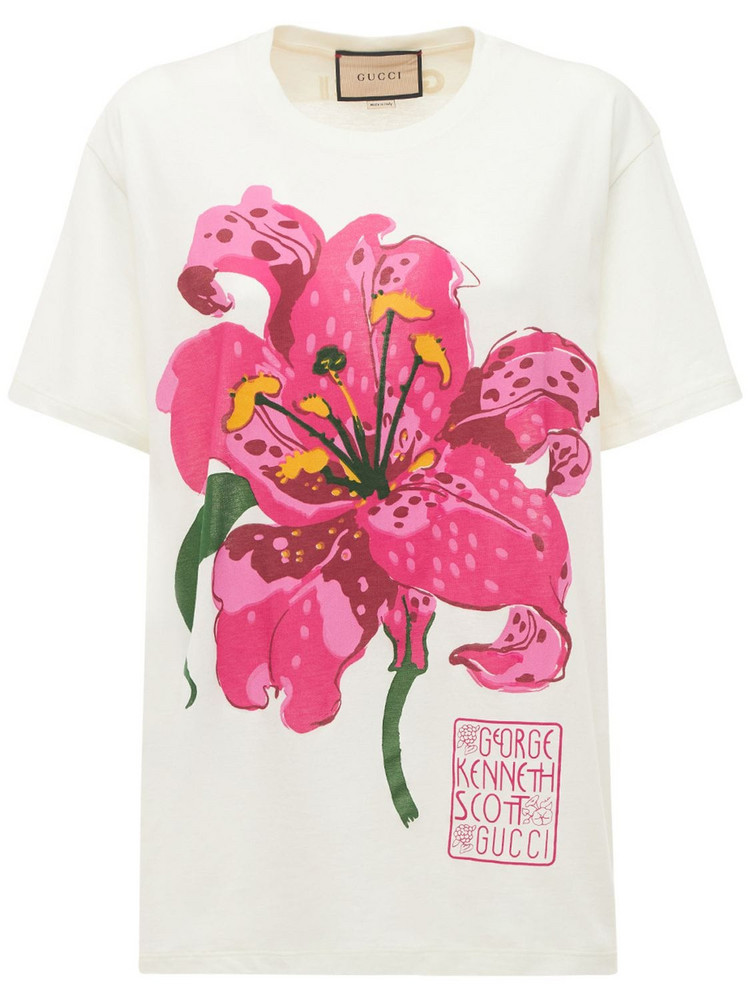GUCCI Flower Print Cotton Jersey T-shirt in white