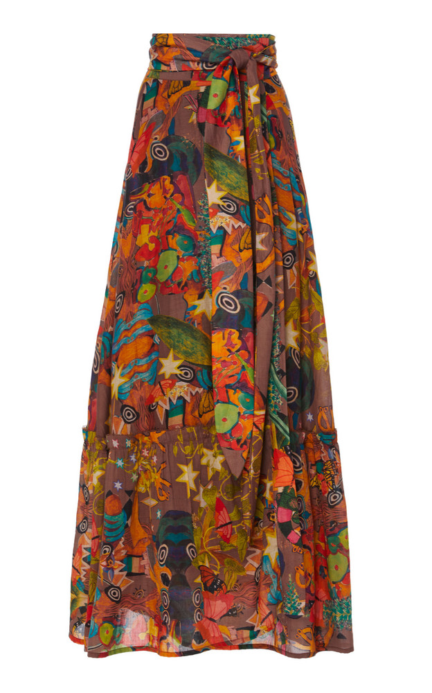 Chufy Khuyana Wrap-Effect Cotton-Silk Maxi Skirt in print