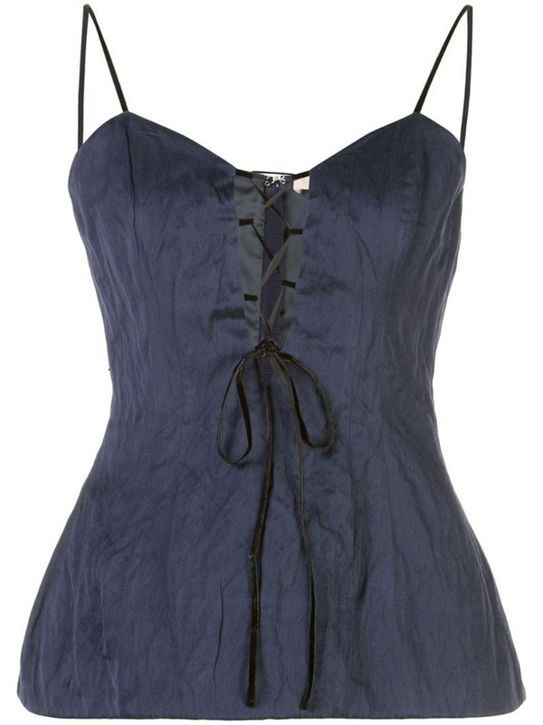 Brock Collection sleeveless lace-up top in blue