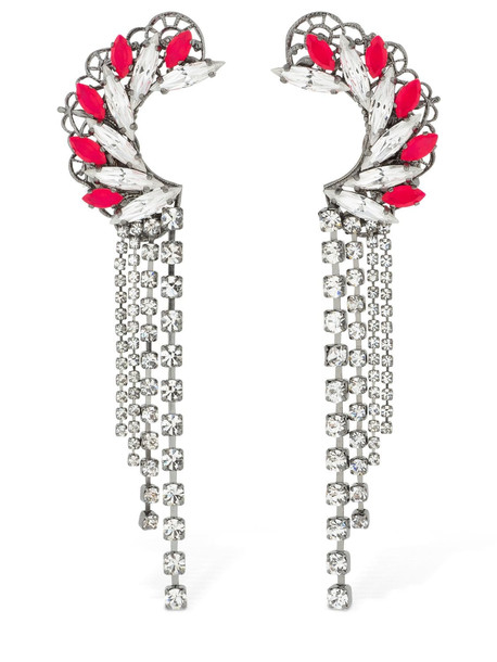 ANTON HEUNIS Maxi Omega Crystal Clasp Earrings in pink / silver
