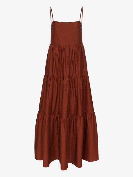 Matteau Square neck strappy tiered maxi dress in brown