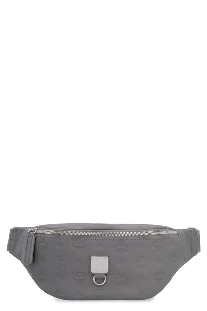 MCM Frusten Leather Belt Bag in grey