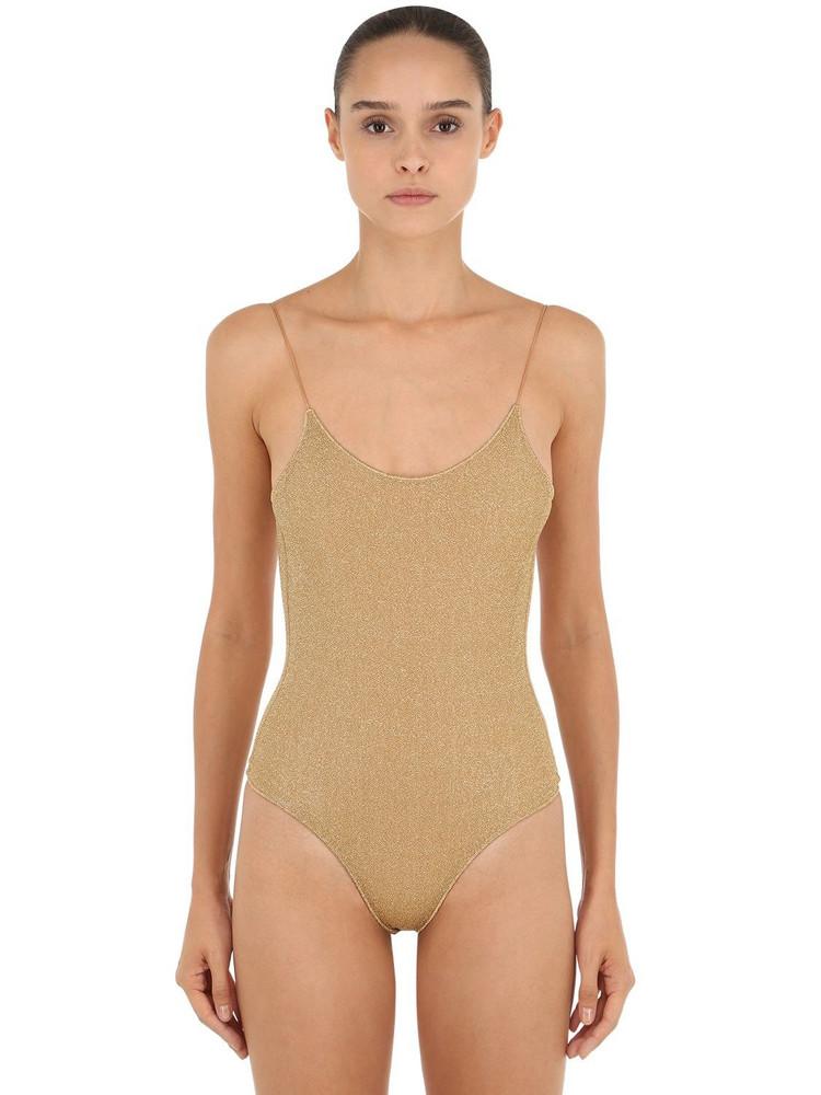 OSÉREE SWIMWEAR Lurex & Lycra One Piece Swimsuit in gold
