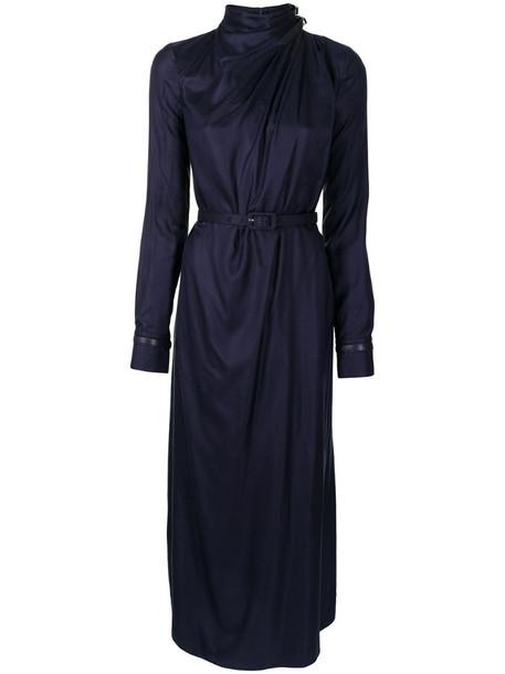 Gabriela Hearst belted silk dress in blue