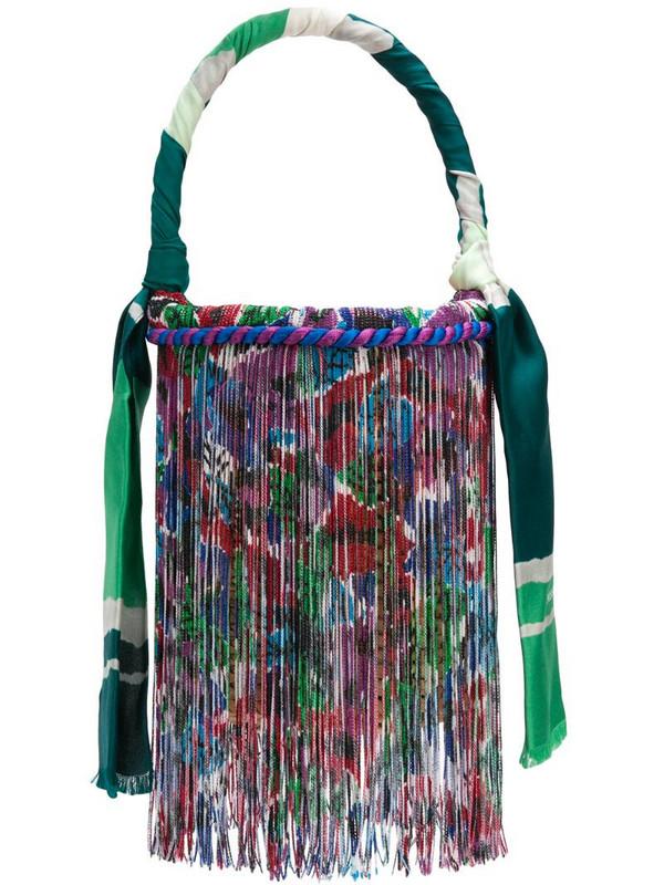 Missoni fringed bucket bag in green