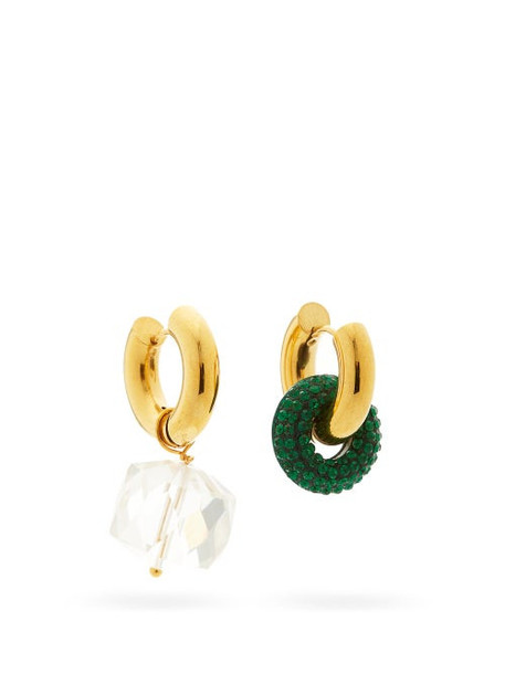 Timeless Pearly - Mismatched Crystal & 24kt Gold-plated Earrings - Womens - Green Multi