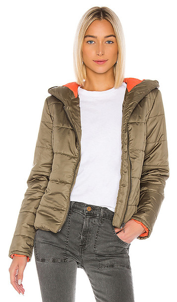 NSF Ollie Hooded Puffer Jacket in Olive in green