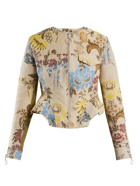 Marques'almeida - Peplum Hem Floral Jacquard Jacket - Womens - Cream Multi