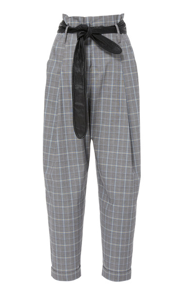 Marissa Webb Anders Plaid Pant with Leather Belt Size: 4 in print