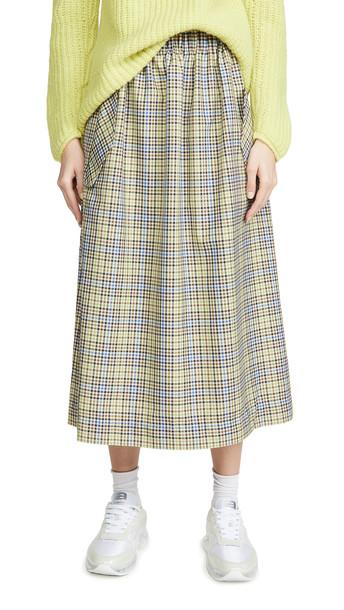 Tibi Smocked Waistband Full Skirt in green / multi / beige