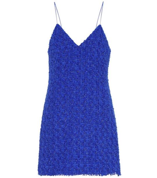 Balmain Cotton-blend tweed minidress in blue