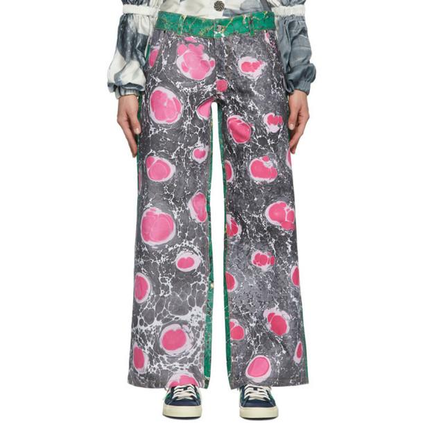 Chopova Lowena Black and Pink Marbled Jeans