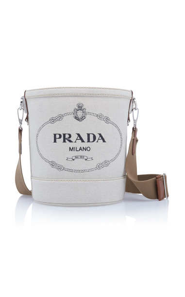 Prada Large Linen Logo Bucket Bag in neutral