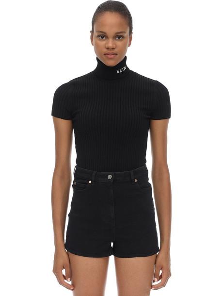 VALENTINO Intarsia Viscose Knit Turtleneck Top in black / white