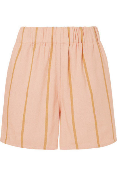 Lucy Folk - Beachside Striped Cotton-blend Shorts - Pink