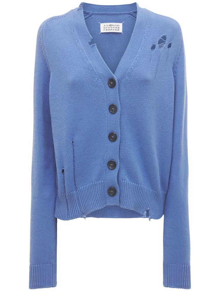 MAISON MARGIELA Destroyed Cotton Cardigan in blue