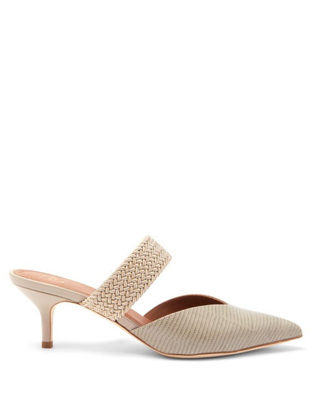 Malone Souliers - Maisie Kitten-heel Leather Mules - Womens - Grey