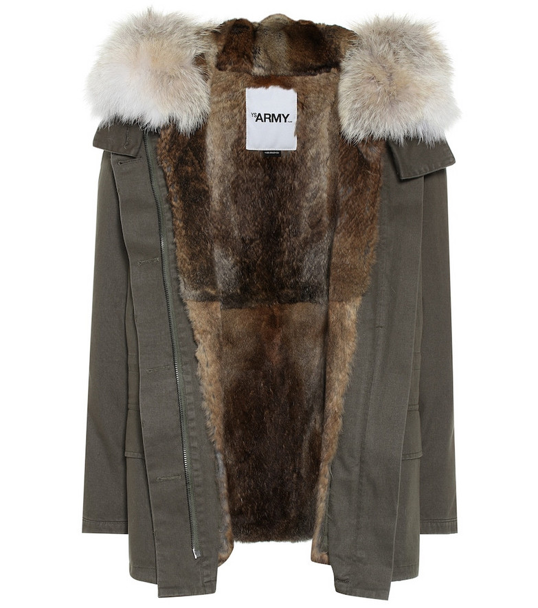 Yves Salomon - Army Fur-lined cotton jacket in green