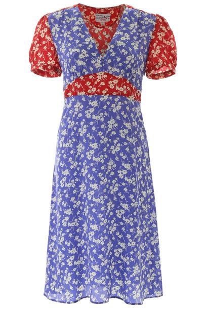 HVN Floral-printed Paula Dress in purple