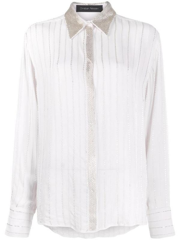 Christian Pellizzari beaded long-sleeved shirt in white