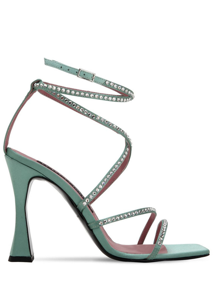 LES PETITS JOUEURS 100mm Camelia Satin Sandals W/ Crystals in green