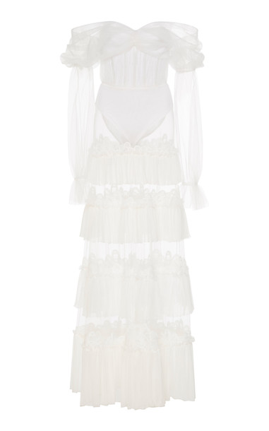 Jonathan Simkhai Ruffled Bodysuit Dress in white