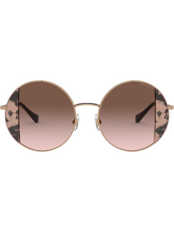 Miu Miu Eyewear round frame sunglasses in brown