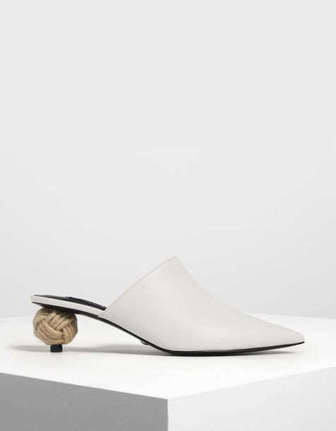 Spherical Heel Leather Mules in white
