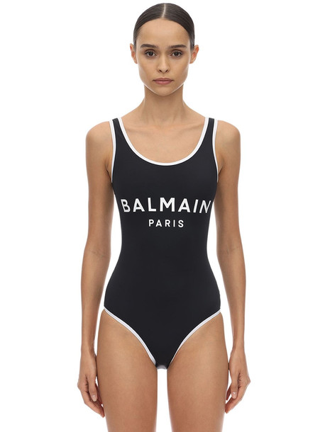 BALMAIN Logo Print Lycra One Piece Swimsuit in black / white