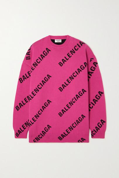 Balenciaga - Intarsia Cotton-blend Sweater - Pink