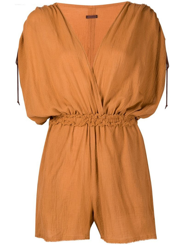 Caravana frayed V-neck playsuit in orange