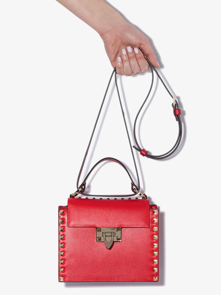 Valentino red Garavani top handle rockstud leather mini tote bag