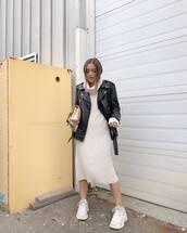 jacket,black leather jacket,white sneakers,turtleneck dress,white dress,knitted dress,crossbody bag