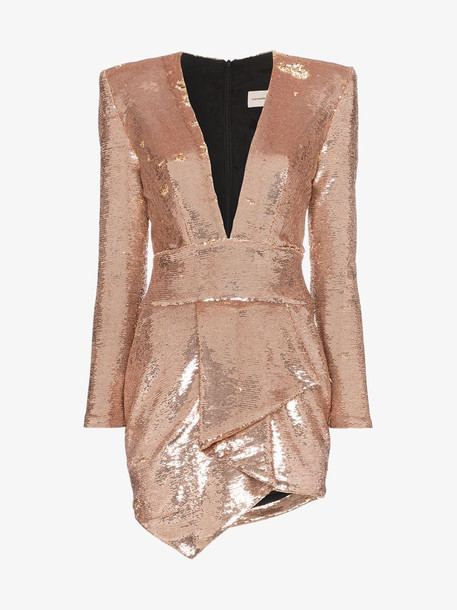 Alexandre Vauthier sequin asymmetric mini dress in pink
