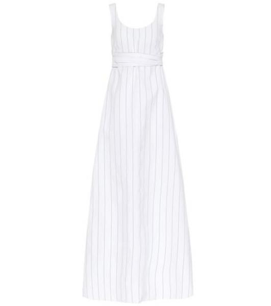 Plan C Striped poplin maxi dress in white