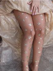tights,emrboidery,sheer,black,black tights,stars,silver