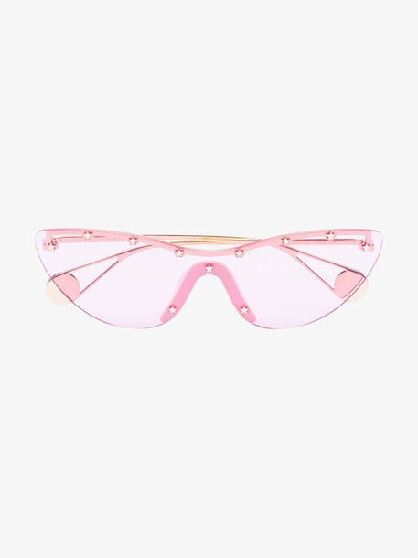 Gucci Eyewear pink cat eye stud embellished mask sunglasses