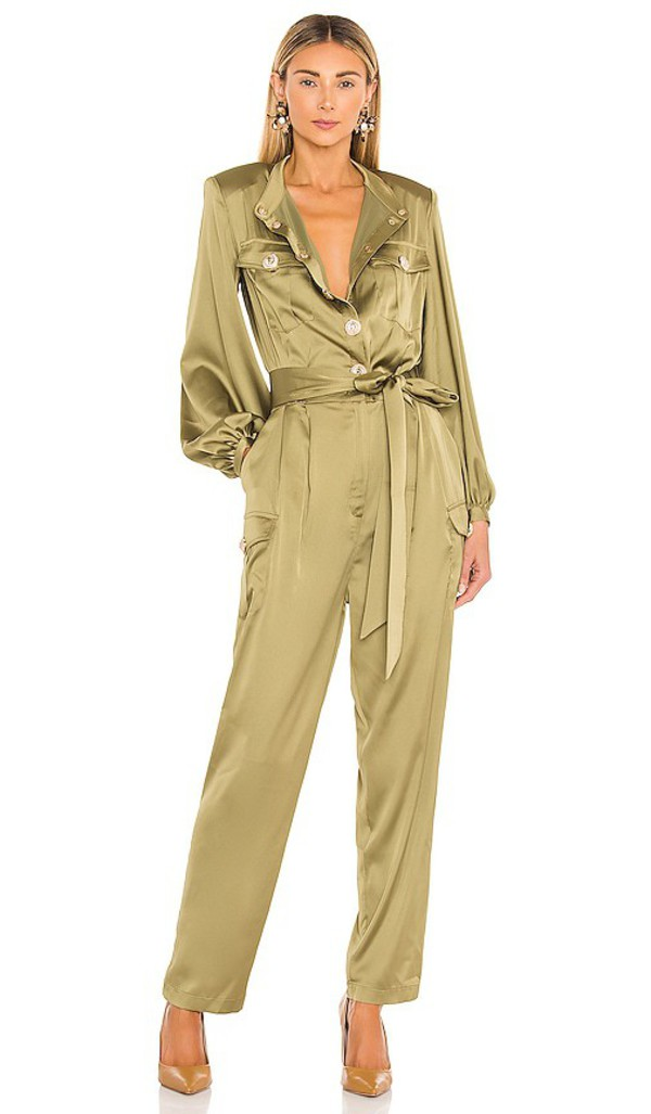 Bronx and Banco Gigi Coffee Jumpsuit in Green in khaki