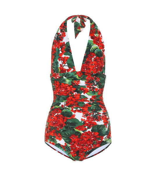 Dolce & Gabbana Floral halter swimsuit in red