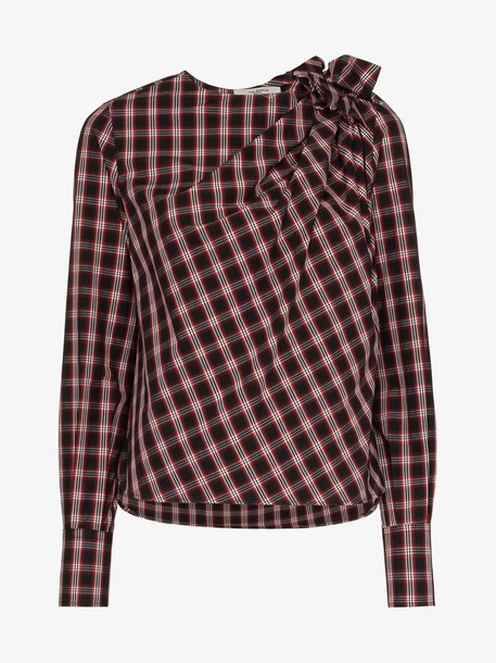 Isabel Marant Étoile Olympe knot-detail check print cotton shirt