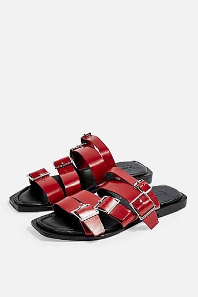 Topshop Felix Red Buckle Sandals - Red