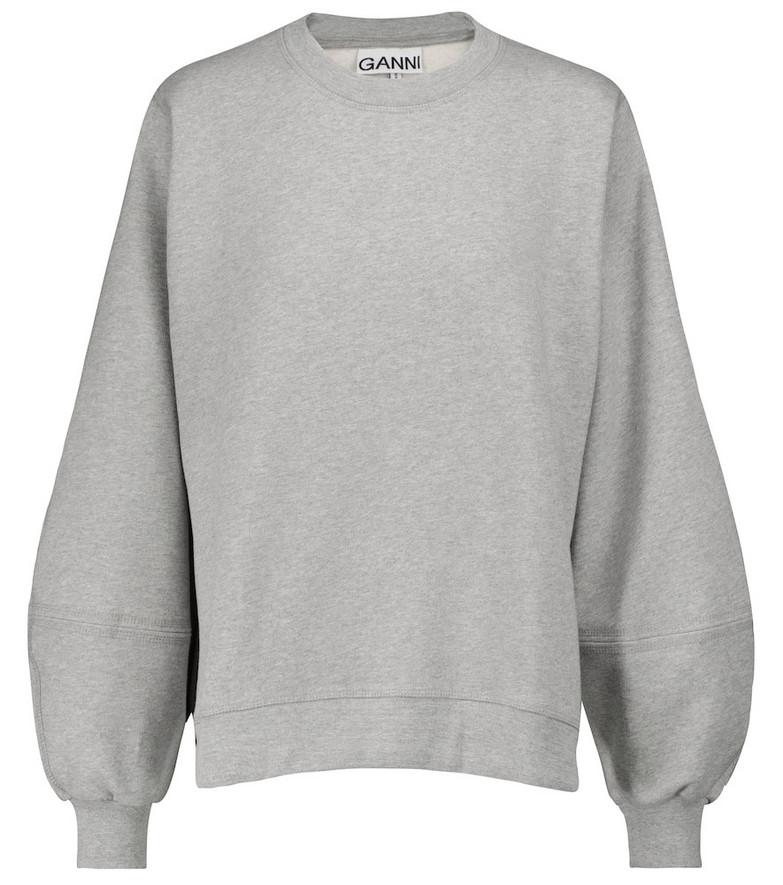 GANNI Cotton-blend sweatshirt in grey