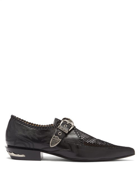 Toga - Western-buckle Point-toe Mesh And Leather Flats - Womens - Black