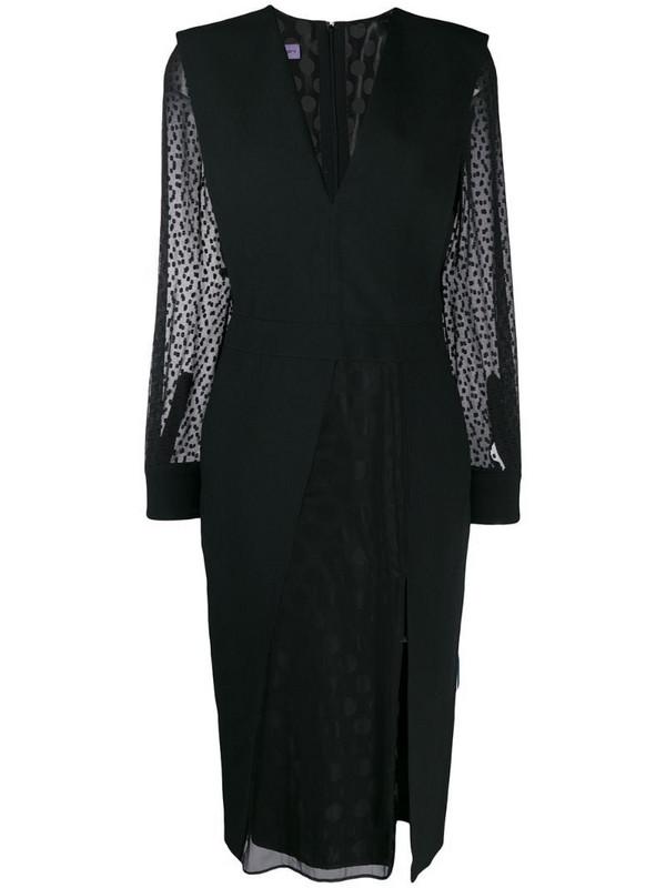Emanuel Ungaro Pre-Owned 1990's sheer sleeves slit dress in black