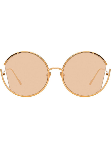 Linda Farrow round cut-out frame sunglasses in pink