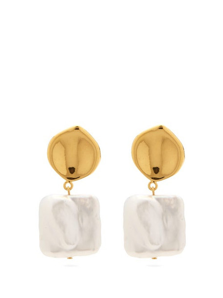 Lizzie Fortunato - Pearly White Square Pearl Gold-plated Earrings - Womens - Pearl