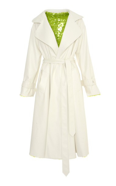 Anouki Reversible Sequined And Leather-Effect Trench Coat in white