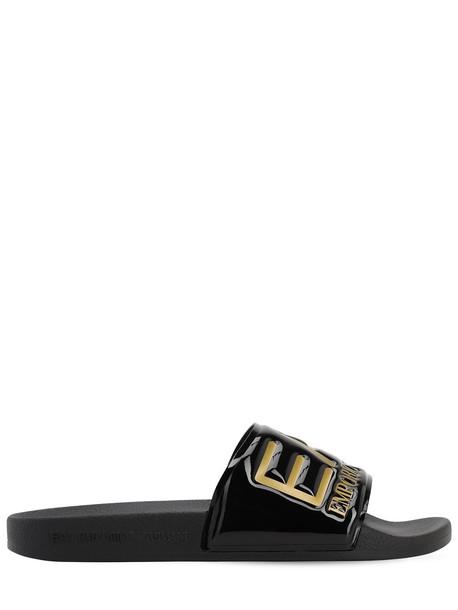 EA7 EMPORIO ARMANI Logo Embossed Slide Sandals in black / gold