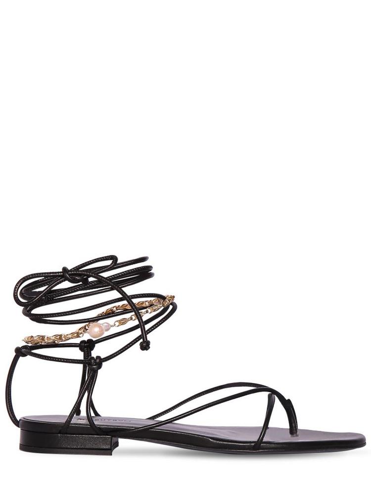 MAGDA BUTRYM 10mm Sweden Leather Lace-up Thong Sandal in black